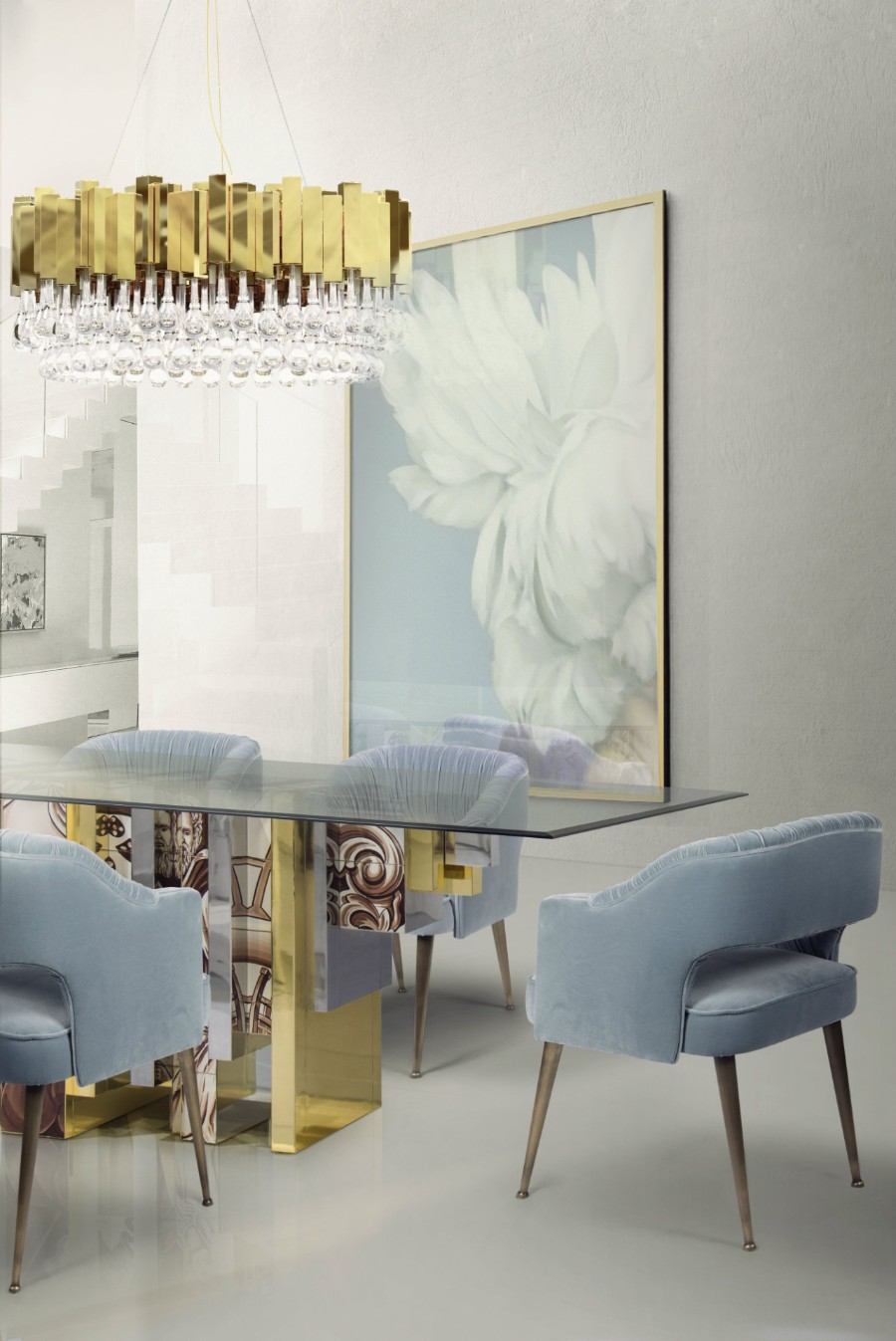 Glass restaurant dining table