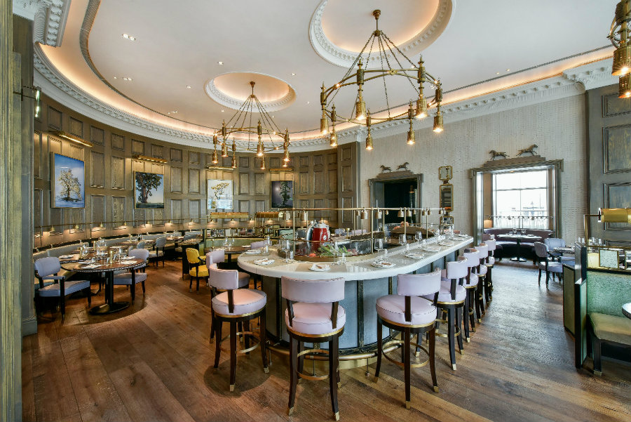 David Collins restaurant layout at Corinthia London